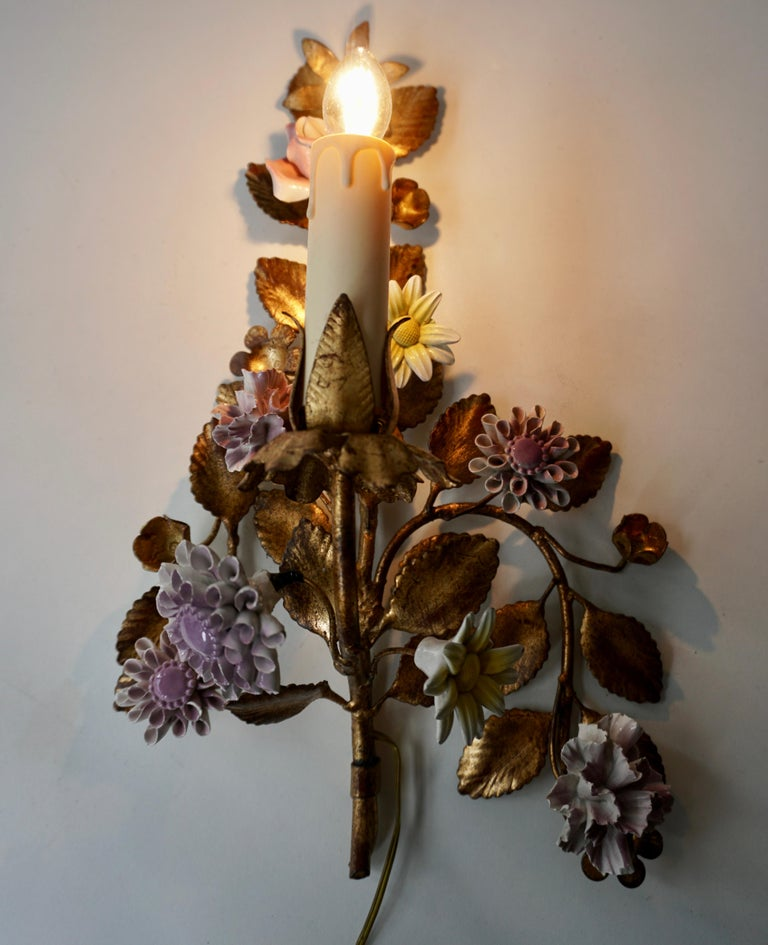 Three Italian Metal Wall Sconces with Porcelain Flowers For Sale 2