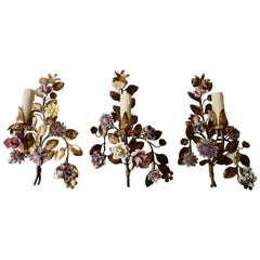 Three Italian Metal Wall Sconces with Porcelain Flowers