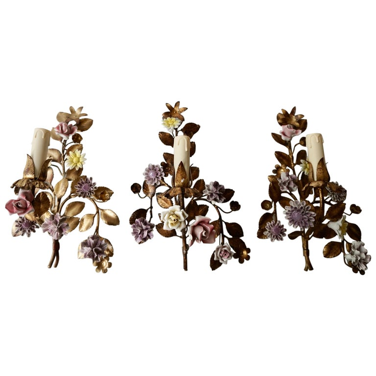 Three Italian Metal Wall Sconces with Porcelain Flowers For Sale