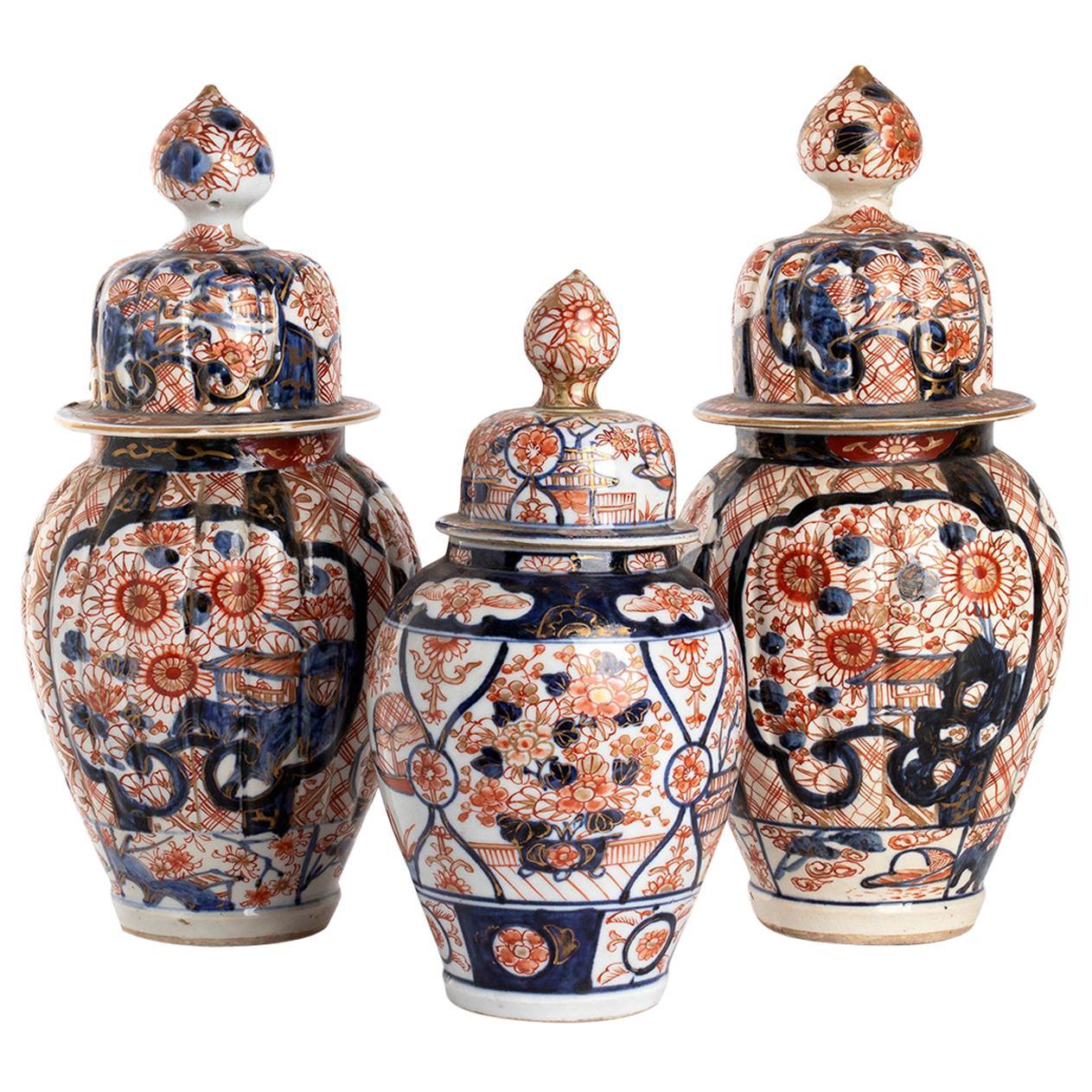 Three Japanese Imari Vases, Early 20th Century