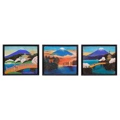 Three Japanese Paintings of Mount Fuji