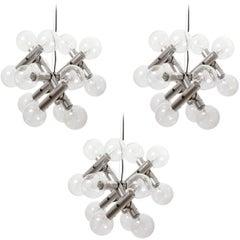 Three Kalmar Pendant Lights Chandeliers 'RS 14', Aluminum Atomic Molecule, 1970s