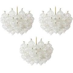 Three Kalmar 'Tulipan' Chandeliers Glass Brass 1970