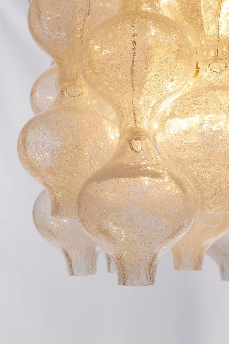 Three Kalmar 'Tulipan' Chandeliers Pendant Lights, Glass Brass, 1970 For Sale 2