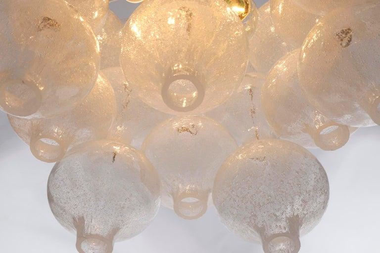 Three Kalmar 'Tulipan' Chandeliers Pendant Lights, Glass Brass, 1970 For Sale 3