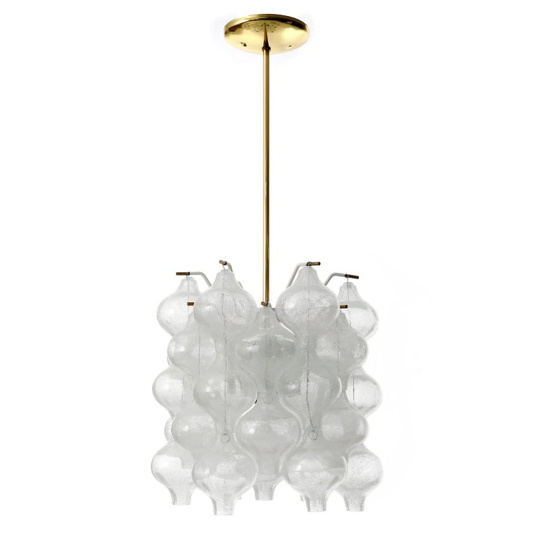 One of three fantastic light fixtures model Tulipan by J.T. Kalmar, Vienna, Austria, manufactured in midcentury, circa 1970 (late 1960s or early 1970s). The name Tulipan derives from the tulip shaped hand blown bubble glasses. Each glass is