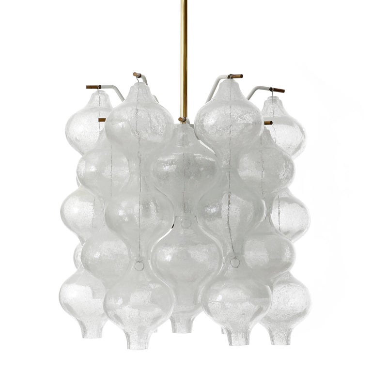 Austrian Three Kalmar 'Tulipan' Chandeliers Pendant Lights, Glass Brass, 1970 For Sale