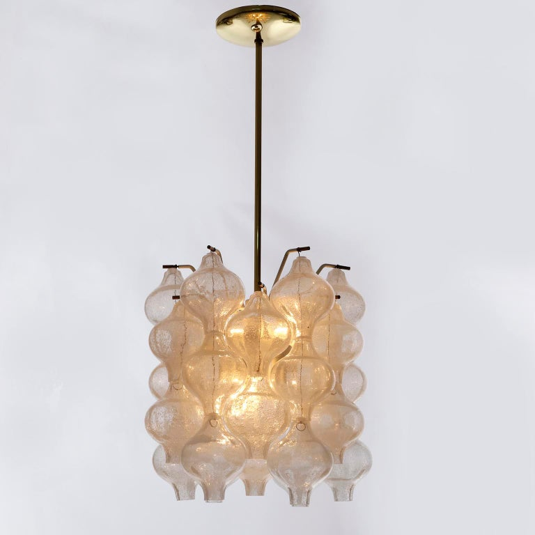 Lacquered Three Kalmar 'Tulipan' Chandeliers Pendant Lights, Glass Brass, 1970 For Sale