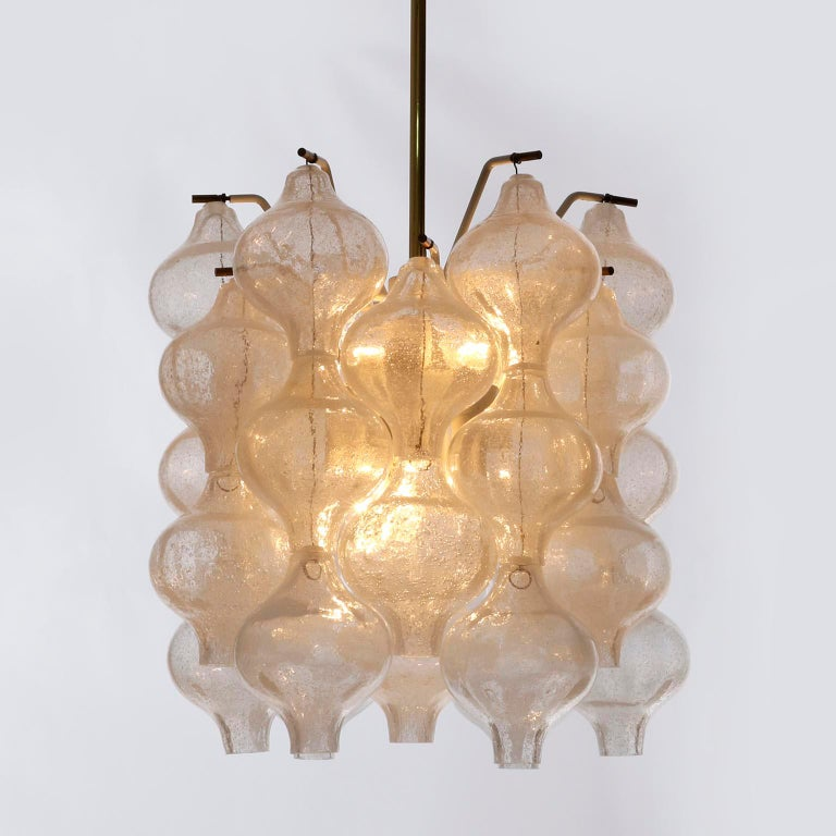 Three Kalmar 'Tulipan' Chandeliers Pendant Lights, Glass Brass, 1970 In Excellent Condition For Sale In Vienna, AT