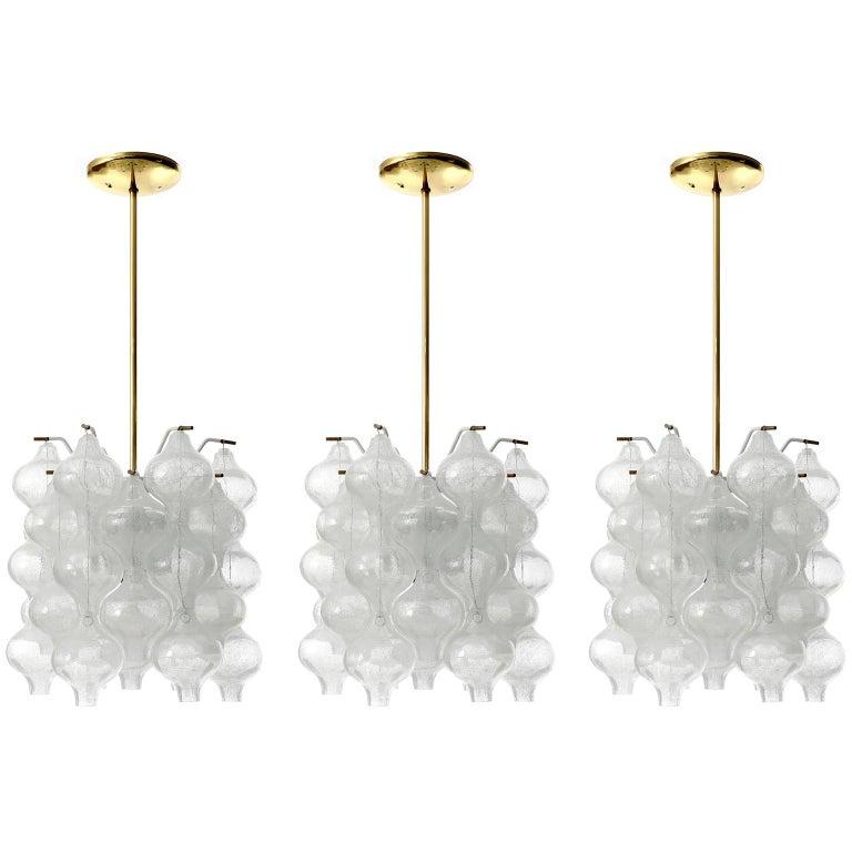Three Kalmar 'Tulipan' Chandeliers Pendant Lights, Glass Brass, 1970 For Sale