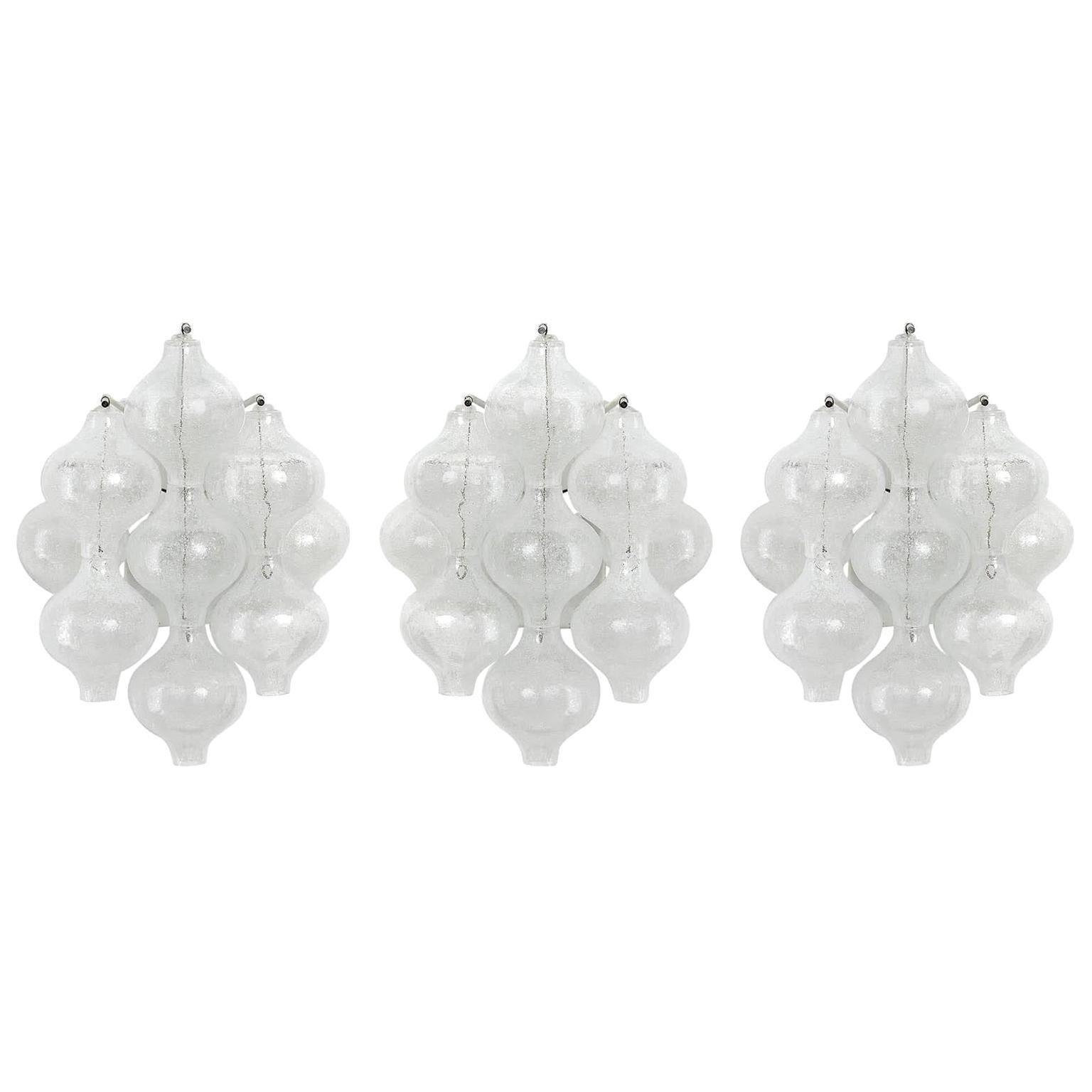 Three Kalmar 'Tulipan' Wall Lights Sconces, Bubble Glass Brass, 1970s