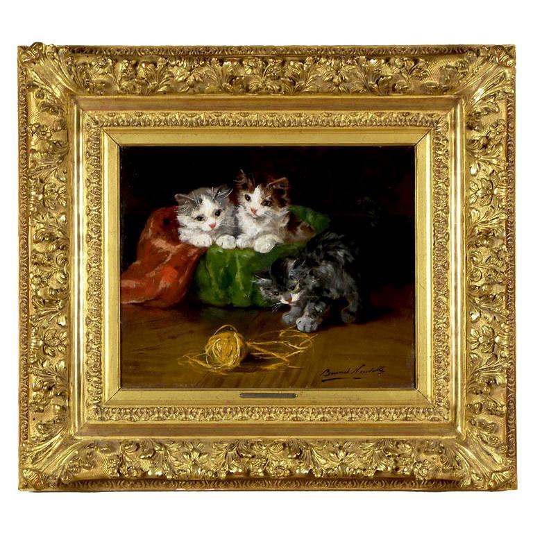 """""""Three Kittens w/Ball of Yarn"""" by Alfred Brunel De Neuville"""