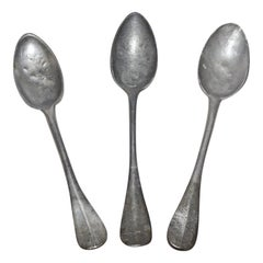 Three Large 18th Century Pewter Soup Spoons, Handcrafted