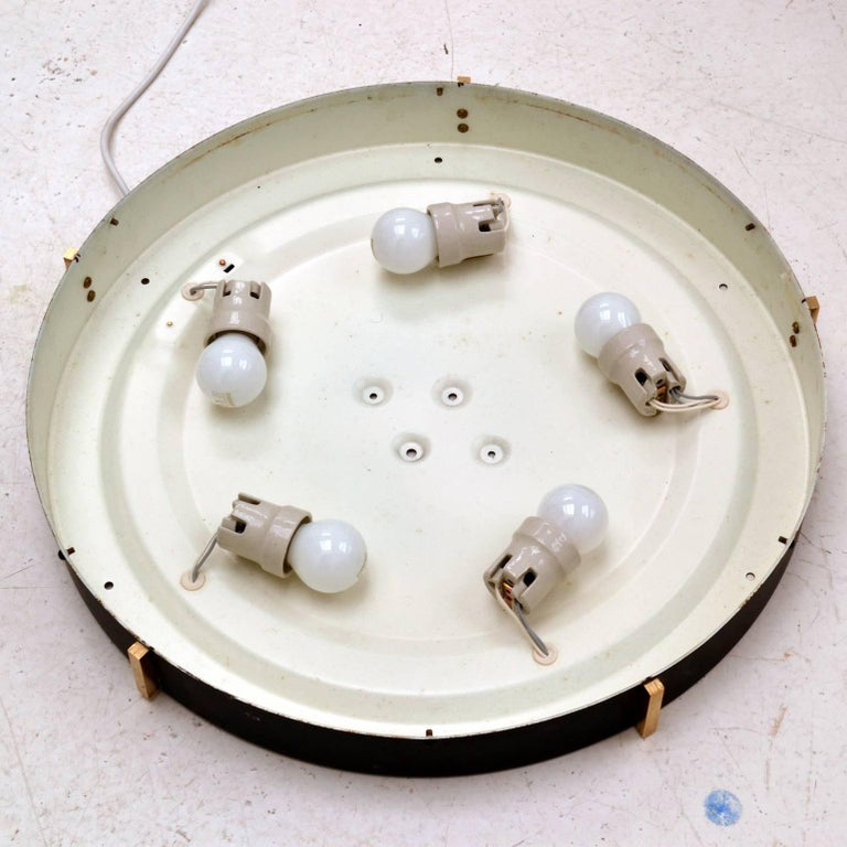Three Large 1960s Flushmount Glass Pendant or Wall Lights by N Leuchten For Sale 5