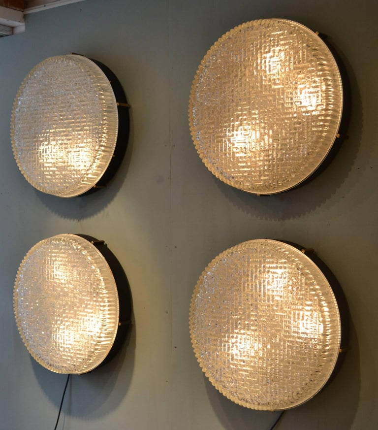 Three Large 1960s Flushmount Glass Pendant or Wall Lights by N Leuchten For Sale 7