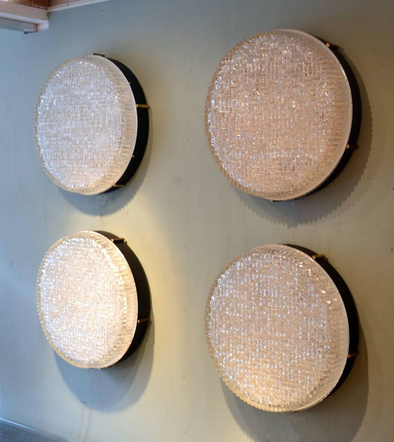 Metal Three Large 1960s Flushmount Glass Pendant or Wall Lights by N Leuchten For Sale