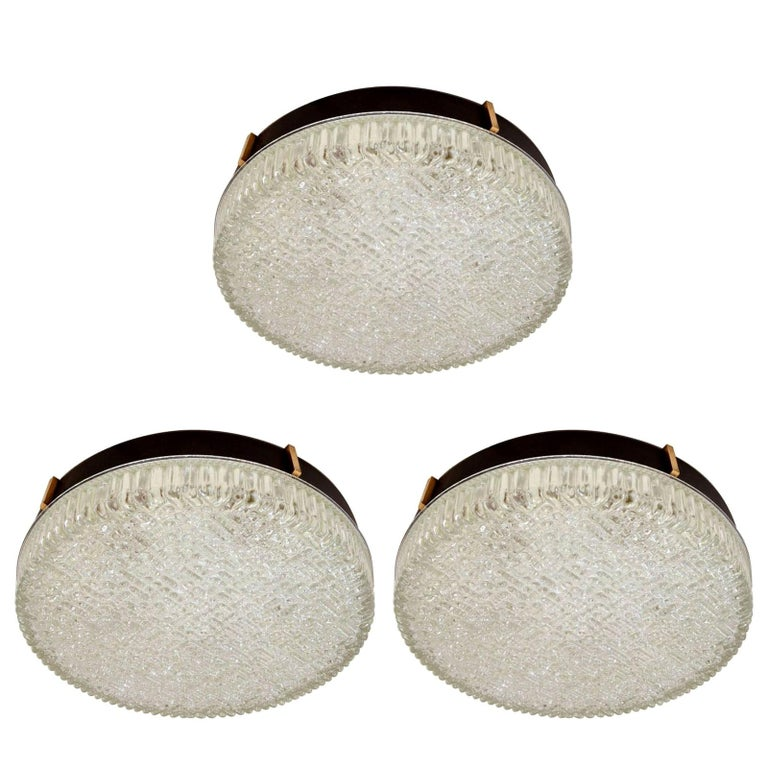 Three Large 1960s Flushmount Glass Pendant or Wall Lights by N Leuchten For Sale