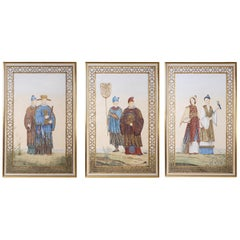 Three Large Chinoiserie Oil Paintings on Canvas
