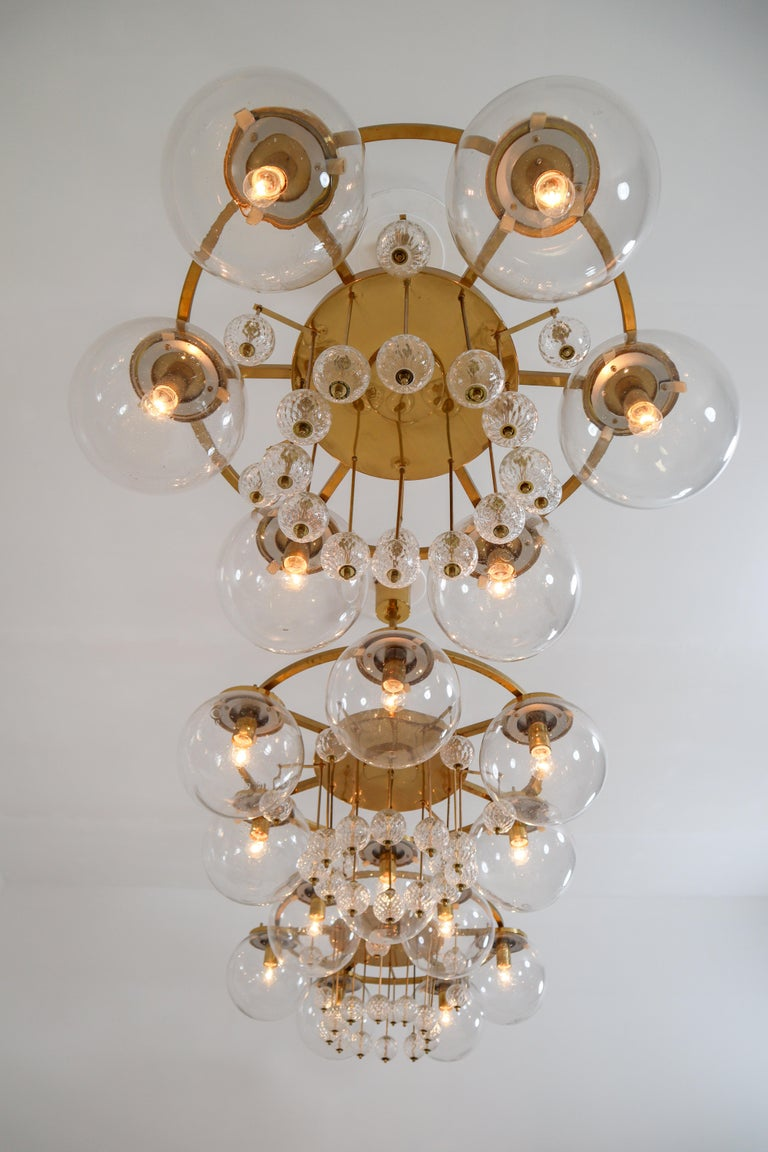 Three Large Hotel Chandeliers in Brass and Hand Blown Glass, Europe, 1970s For Sale 5