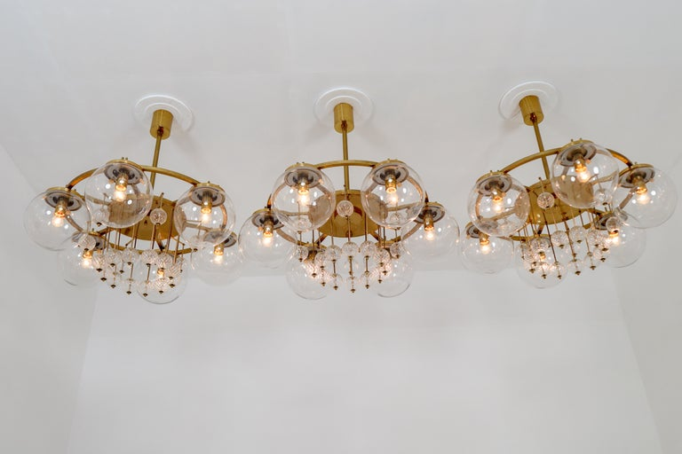 Three Large Hotel Chandeliers in Brass and Hand Blown Glass, Europe, 1970s For Sale 6