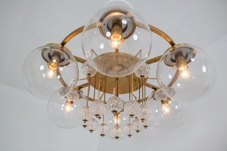 Three Large Hotel Chandeliers in Brass and Hand Blown Glass, Europe, 1970s For Sale 7