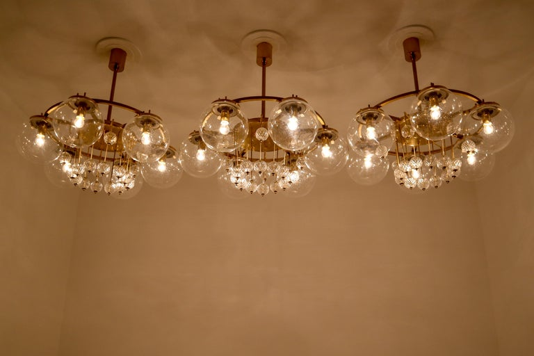 European Three Large Hotel Chandeliers in Brass and Hand Blown Glass, Europe, 1970s For Sale