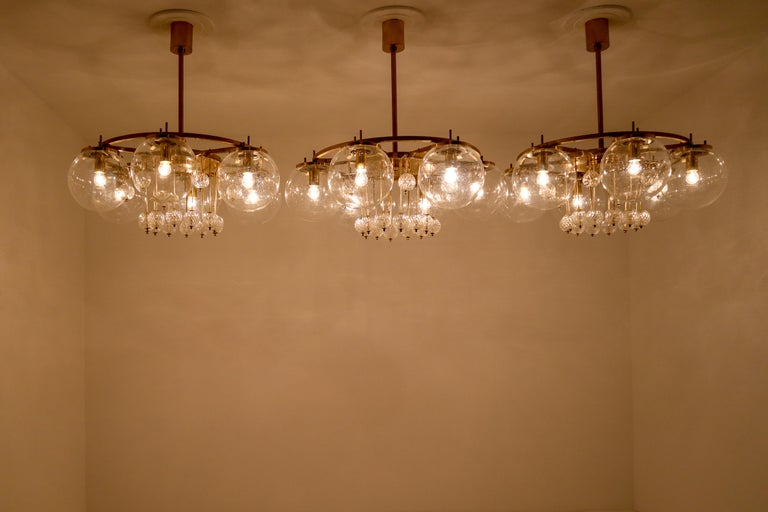 Three Large Hotel Chandeliers in Brass and Hand Blown Glass, Europe, 1970s In Good Condition For Sale In Almelo, NL