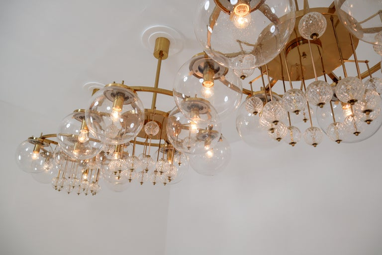20th Century Three Large Hotel Chandeliers in Brass and Hand Blown Glass, Europe, 1970s For Sale