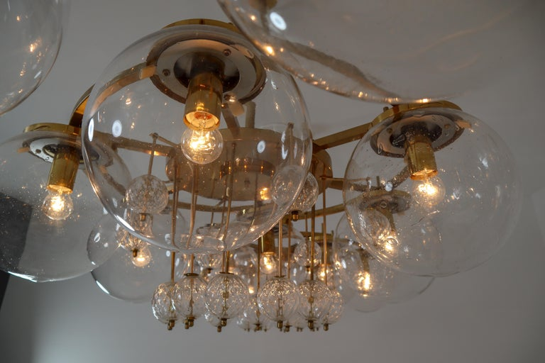 Three Large Hotel Chandeliers in Brass and Hand Blown Glass, Europe, 1970s For Sale 1