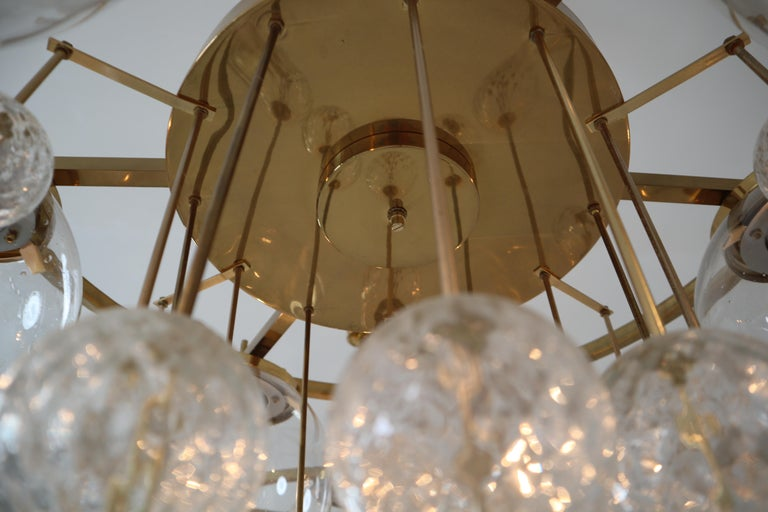 Three Large Hotel Chandeliers in Brass and Hand Blown Glass, Europe, 1970s For Sale 2