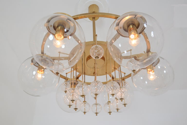 Three Large Hotel Chandeliers in Brass and Hand Blown Glass, Europe, 1970s For Sale 3
