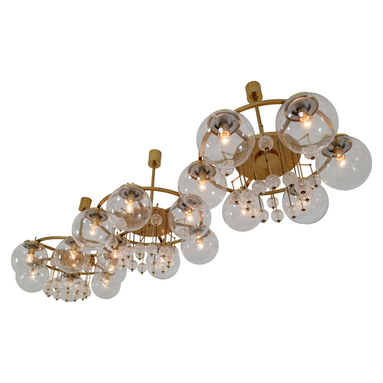 Three Large Hotel Chandeliers in Brass and Hand Blown Glass, Europe, 1970s For Sale