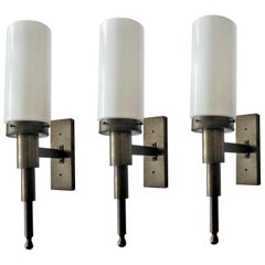 Three Large Italian Brass Opaline Glass Wall Sconces, Indoor or Outdoor Use
