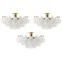 Three Large Kalmar 'Tulipan' Flushmount Light Fixtures, Brass Blown Glass, 1970