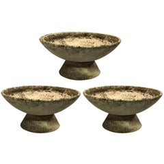 Three Large Mid-Century Modern Fiber Concrete Architectural Planters