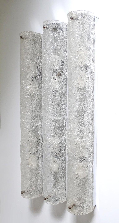 Three Large MidCentury Murano Glass Mirror Vanity Sconces, Gio Ponti Era For Sale 7