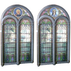 Three Large Stained Glass Windows, Religious