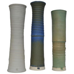 Three Large Studio Pottery Vessels in Blue, Cream and Sand Glazes