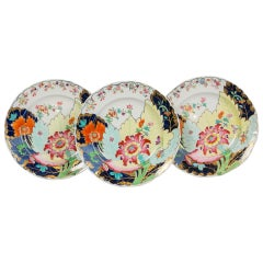 Three Large Tobacco Leaf Plates Made by Spode in England, circa 1820
