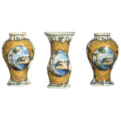 Three Late 18th Century Delft Pottery Vases