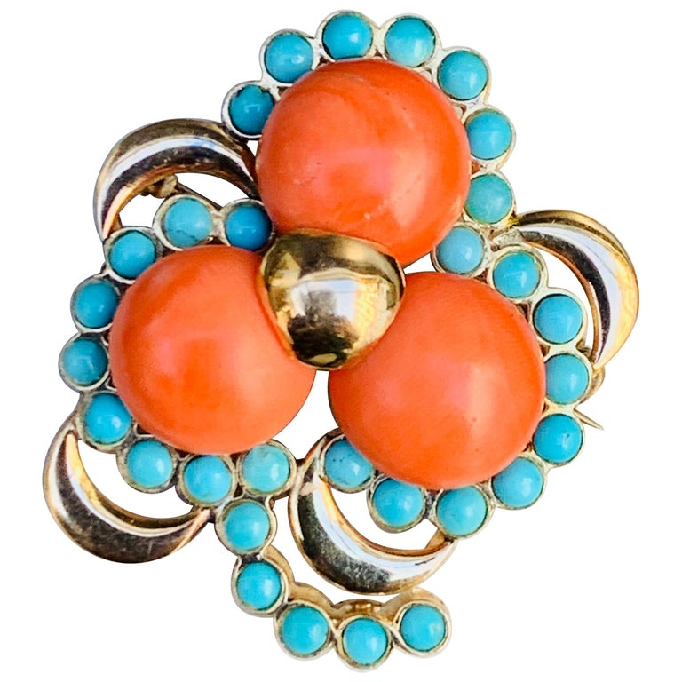 Three Leaf Clover Coral Turquoise Gold Brooch, Italy For Sale