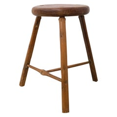 Three-Leg Acacia Stool or Milking Stool Midcentury French
