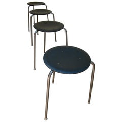 Three-Legged Danish Stacking Stool of Molded Plywood