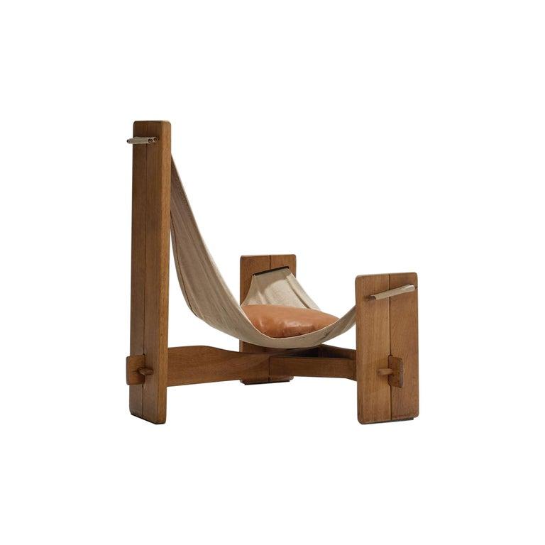 Three-Legged Oak Sling Chair in Oak, circa 1960s-1970s For Sale