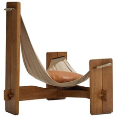 Three-Legged Oak Sling Chair in Oak, circa 1960s-1970s