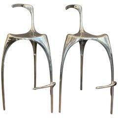 Three-Legged Sculptural Pair of Heavy Polished Aluminum Bar Stools