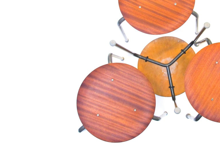 Danish Three-Legged Stacking Stool with Molded Plywood Seatings, 1950s Denmark  For Sale