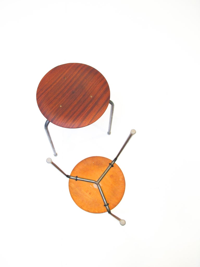 Oiled Three-Legged Stacking Stool with Molded Plywood Seatings, 1950s Denmark  For Sale