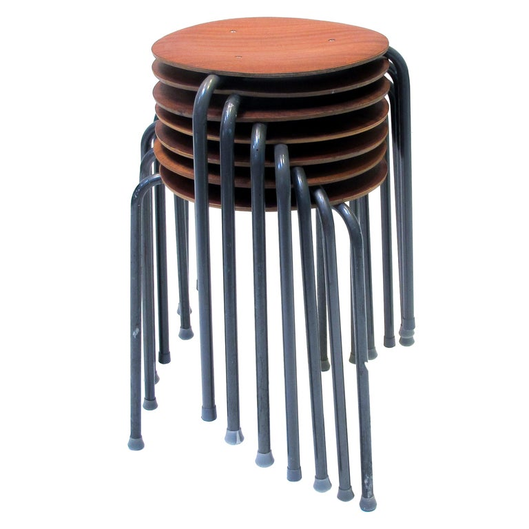 Three-Legged Stacking Stool with Molded Plywood Seatings, 1950s Denmark  For Sale