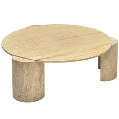 Three Legged Travertine Coffee Table with Round Table Top
